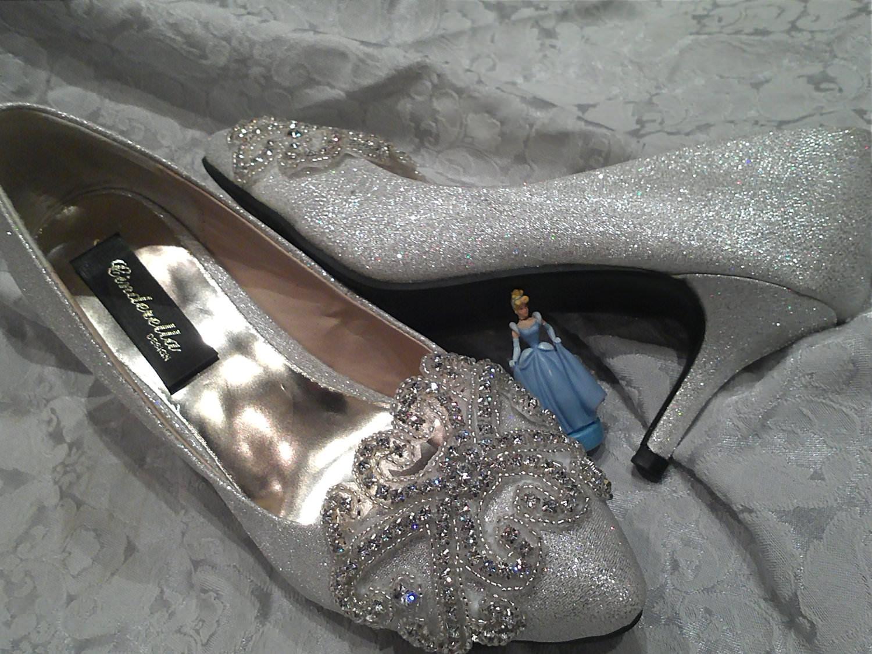 sparkling cinderella bridal silver high heels