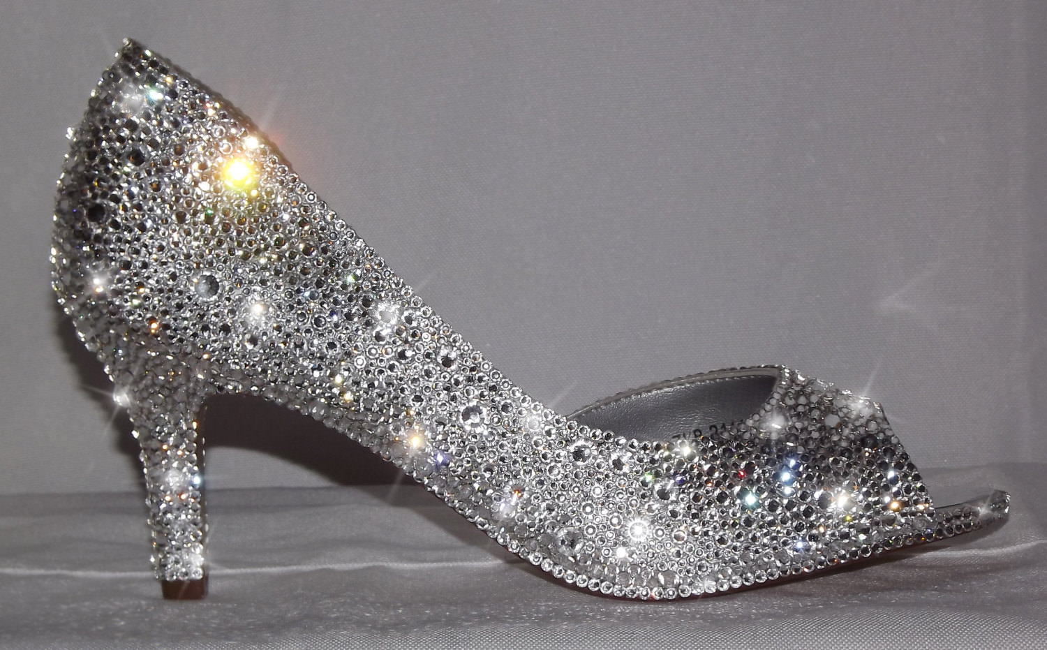Crystal Shining Peep Toe Silver High Heels