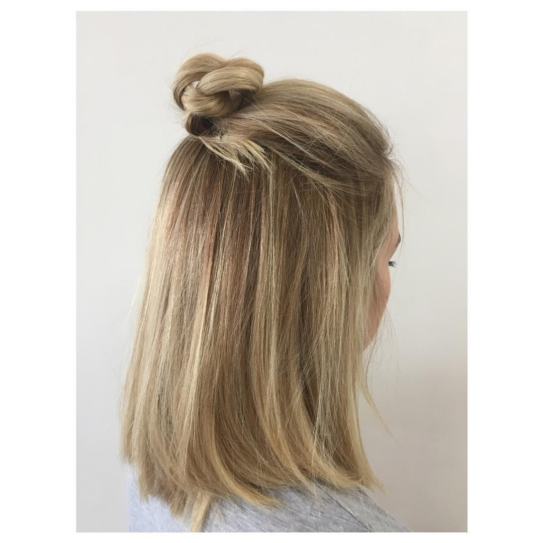 Cute Knot Bun Hald Up Half Down Wedding Hairstyle.jpg