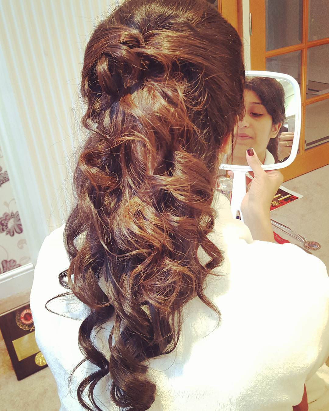 Creative Half Up Half Down Hair Do Wedding Hair Style