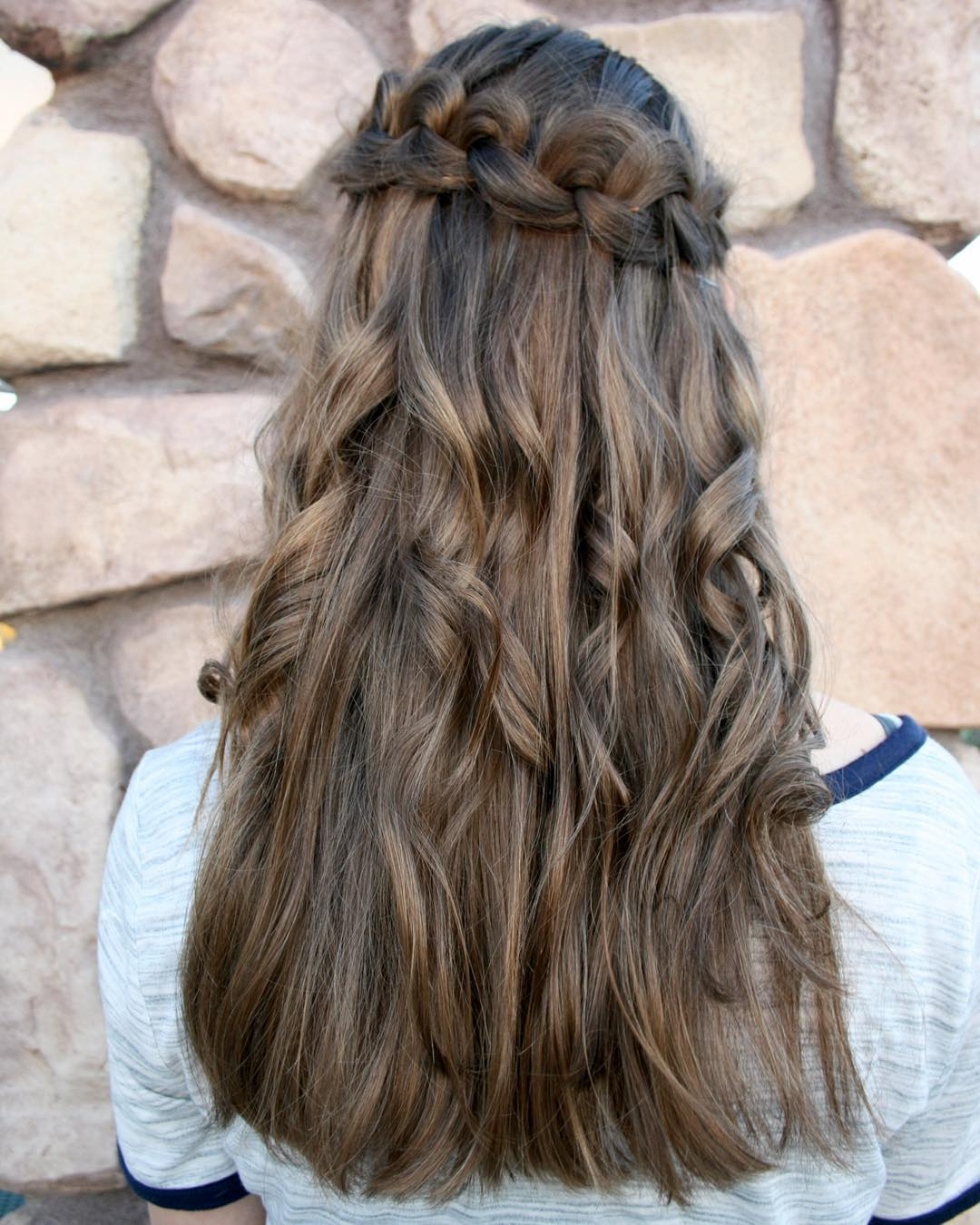 Charming WaterFall Wedding Hairstyle