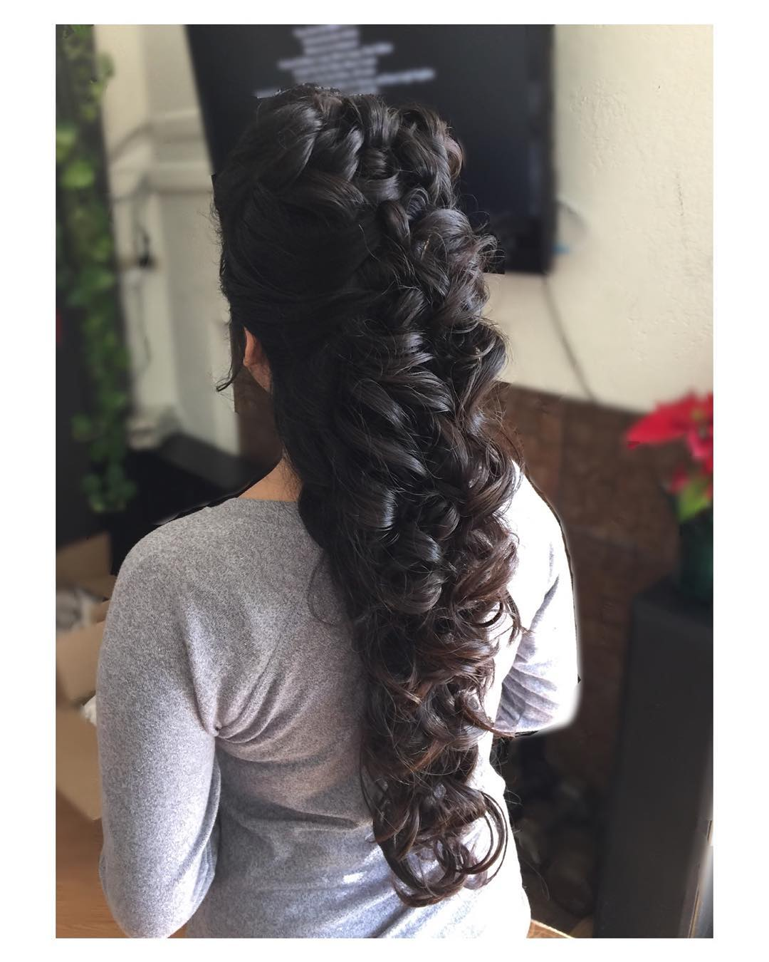 Elegant Curly Half Up Half Down Wedding Braid