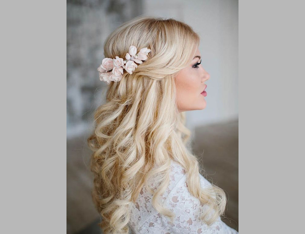Simple Curly Half Up Half Down Wedding Hair style