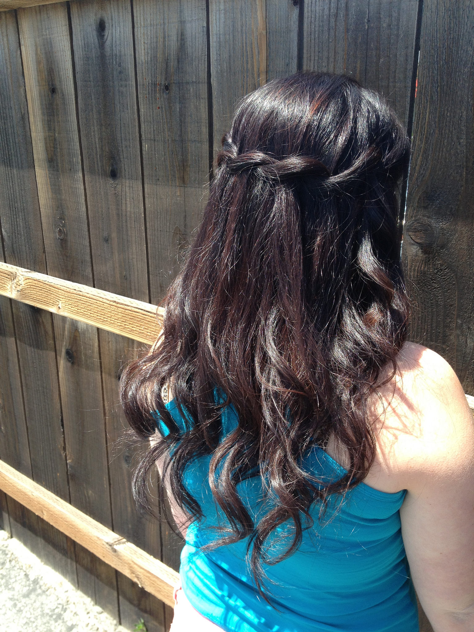 Awesome Waterfall Half Up Half Down wedding Hair Do