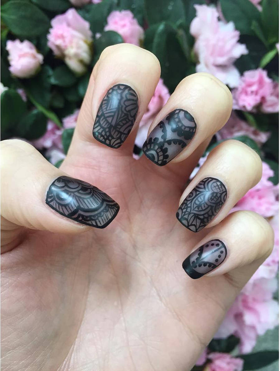 25 lace nail art designs ideas design trends premium psd awesome black lace prinsesfo Image collections