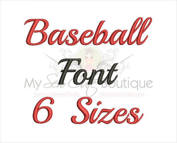 baseball embroidery font