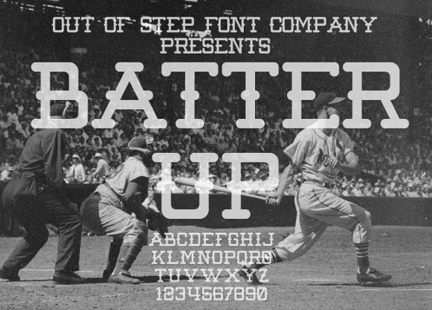 batter up baseball font