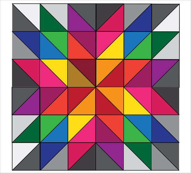 Colorful Star Quilt Pattern