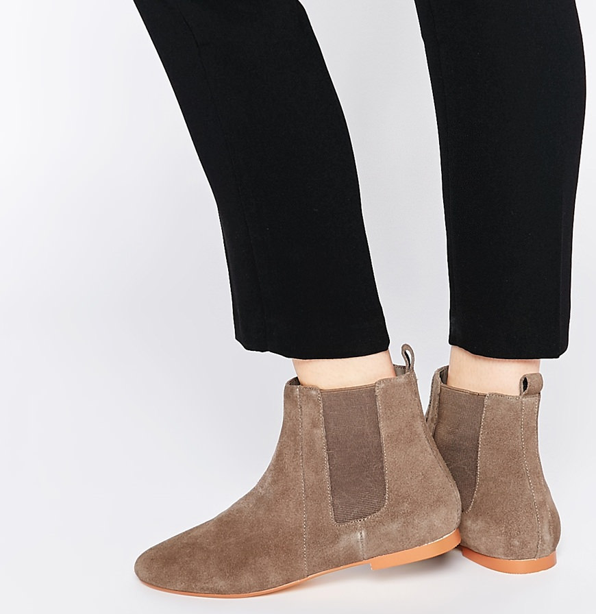 Faith Smith Taupe Suede Leather Ankle Boots