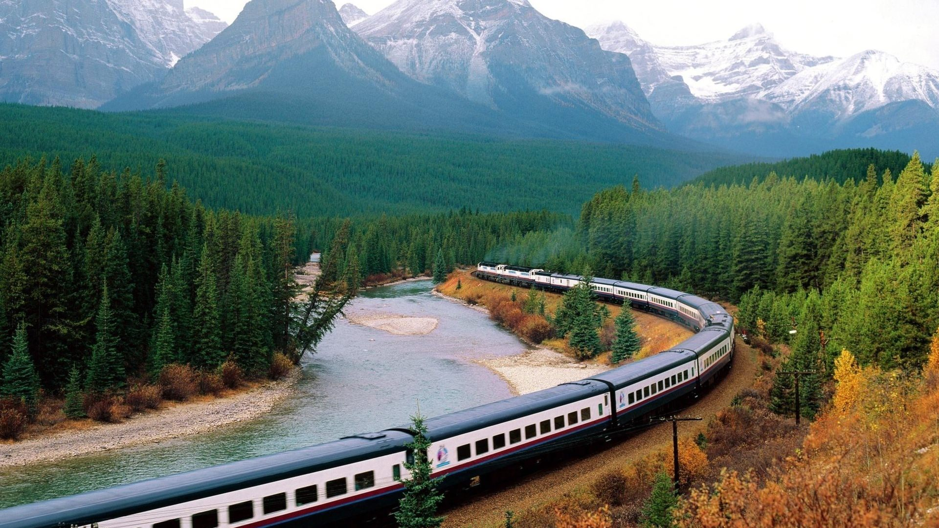 Train Structure Mountains Lake Movement