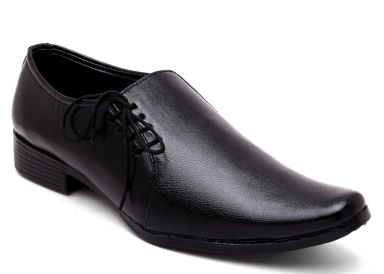 axonza mens black faux leather shoes1