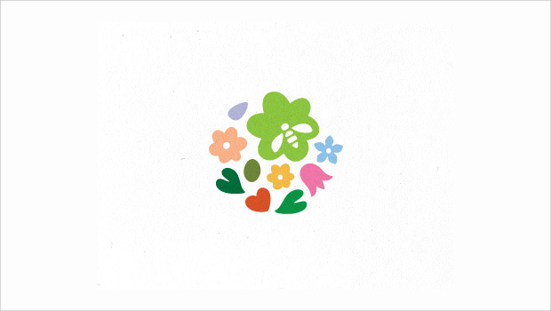 Flying Flowers Logo Illustration