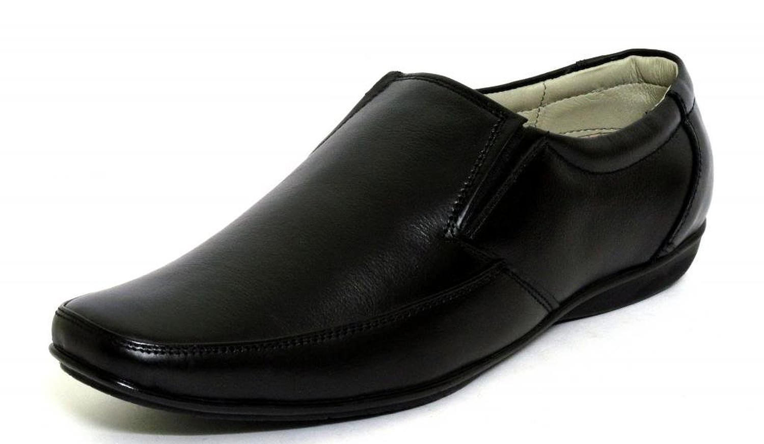 Fbt Black Slip On Formal Leather Shoe