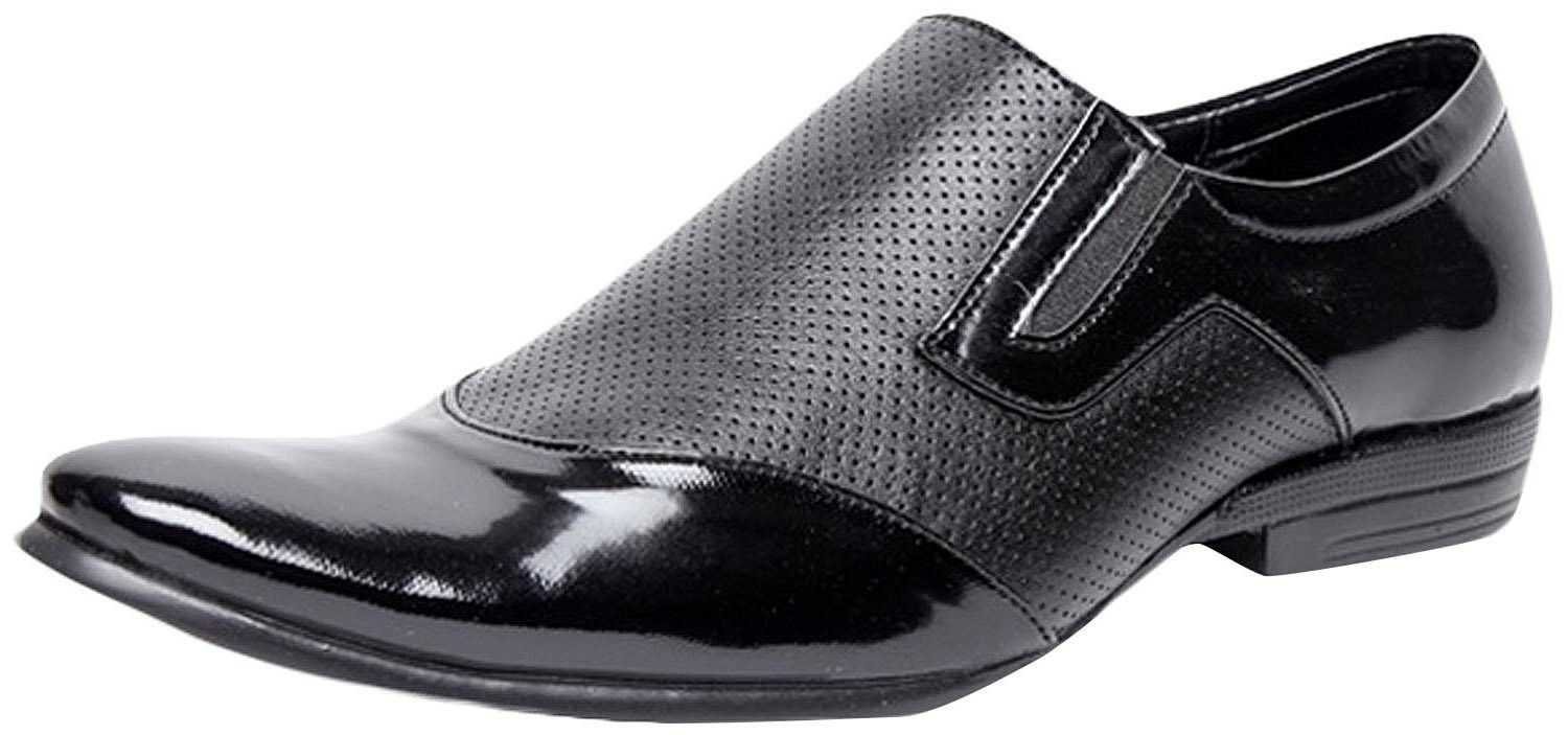Zapatoz Black Perforated Slip On Formal Shoes