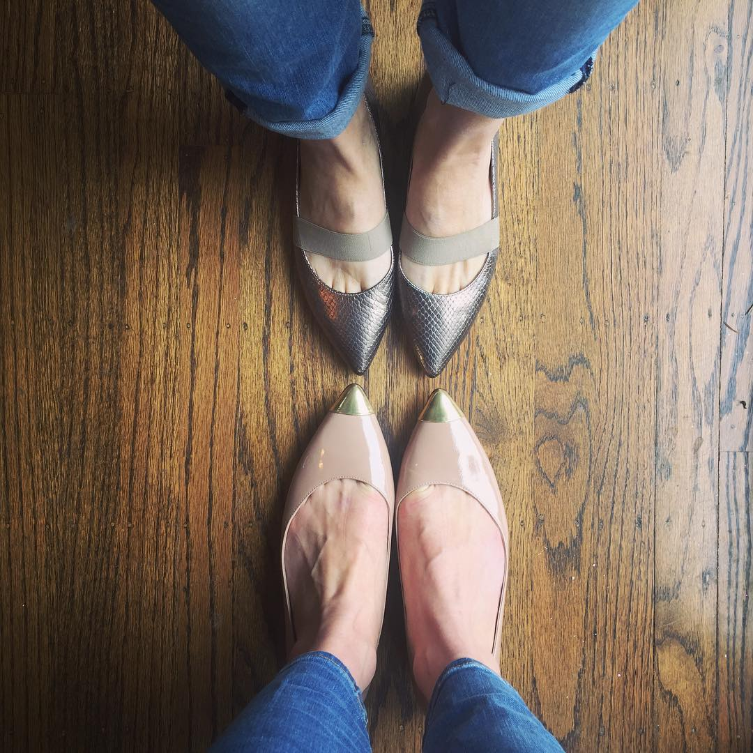 Two Different Metallic High Heels