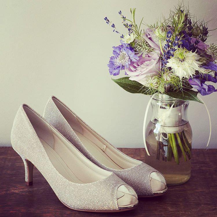 White Metallic High Heels