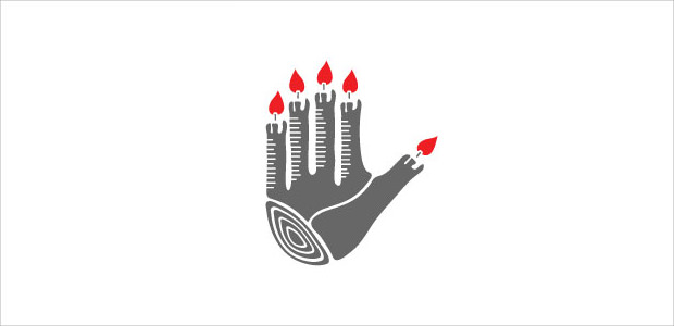 Brilliant Hand Logo With Flames Finger
