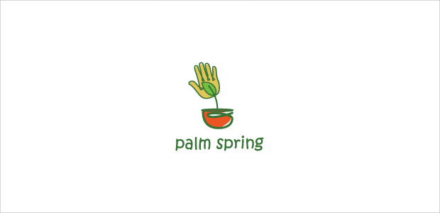 Cute Green Plant Hand Logo Illustration