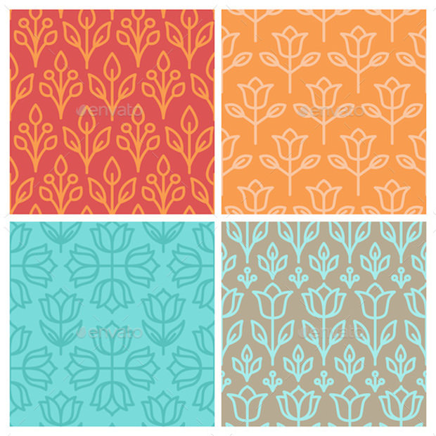 Mono Line Seamless Patterns