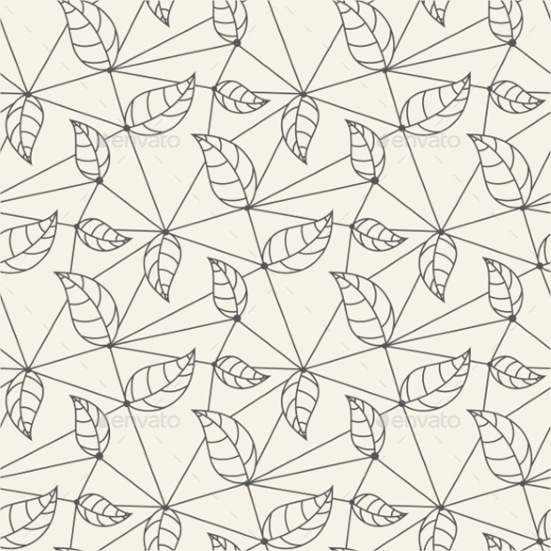 Seamless Leaves Line Pattern