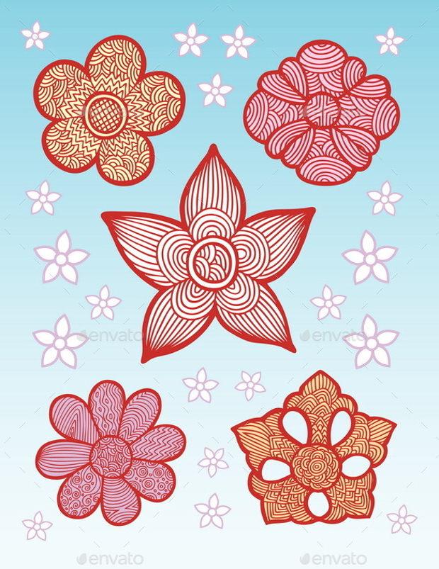 flowers line pattern decoration