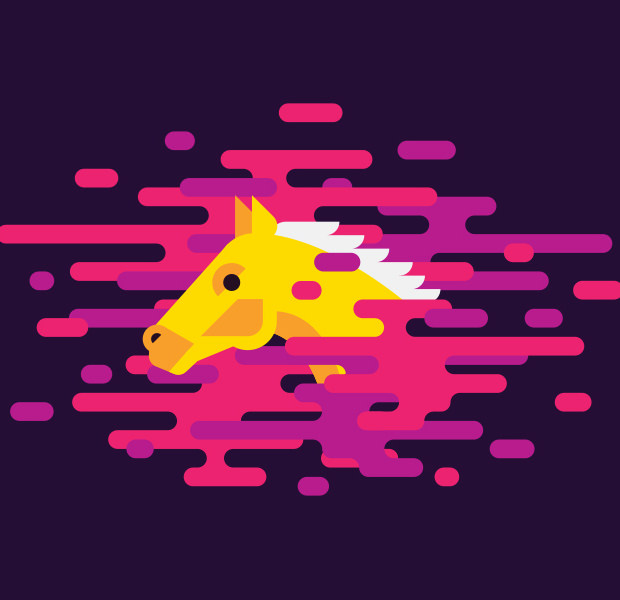 pleasant colorful golden horse logo