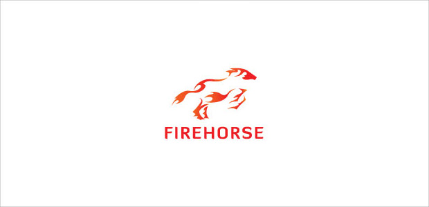 striking fire flame horse logo design