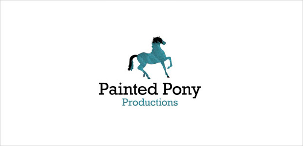 cool blue color horse logo for prodution company