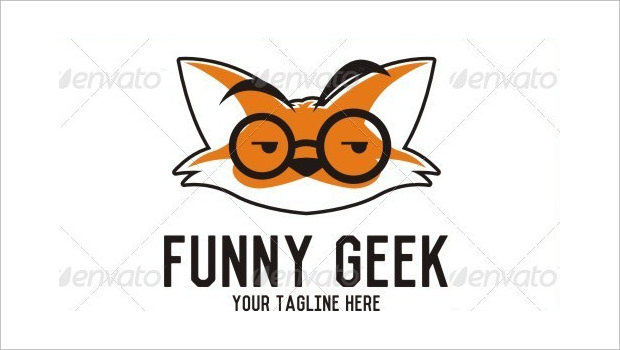 Funny Cat Geek Logo Dsign