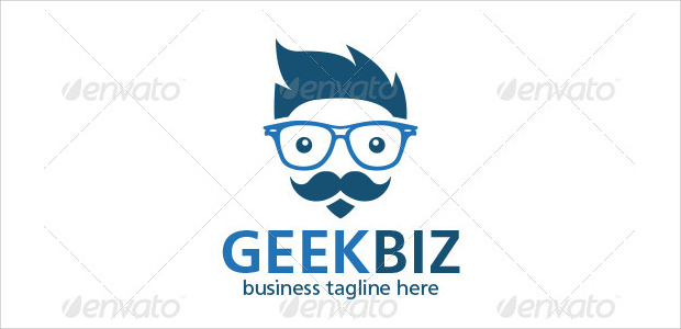 cool beard geek boy logo for business