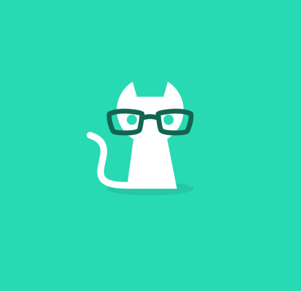 charming little cat geek logo