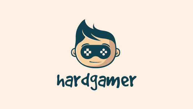 simple hard gaming geek logo