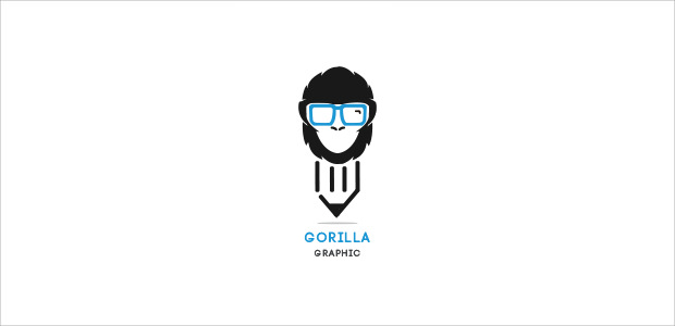 stylish pen and gorilla geek logo