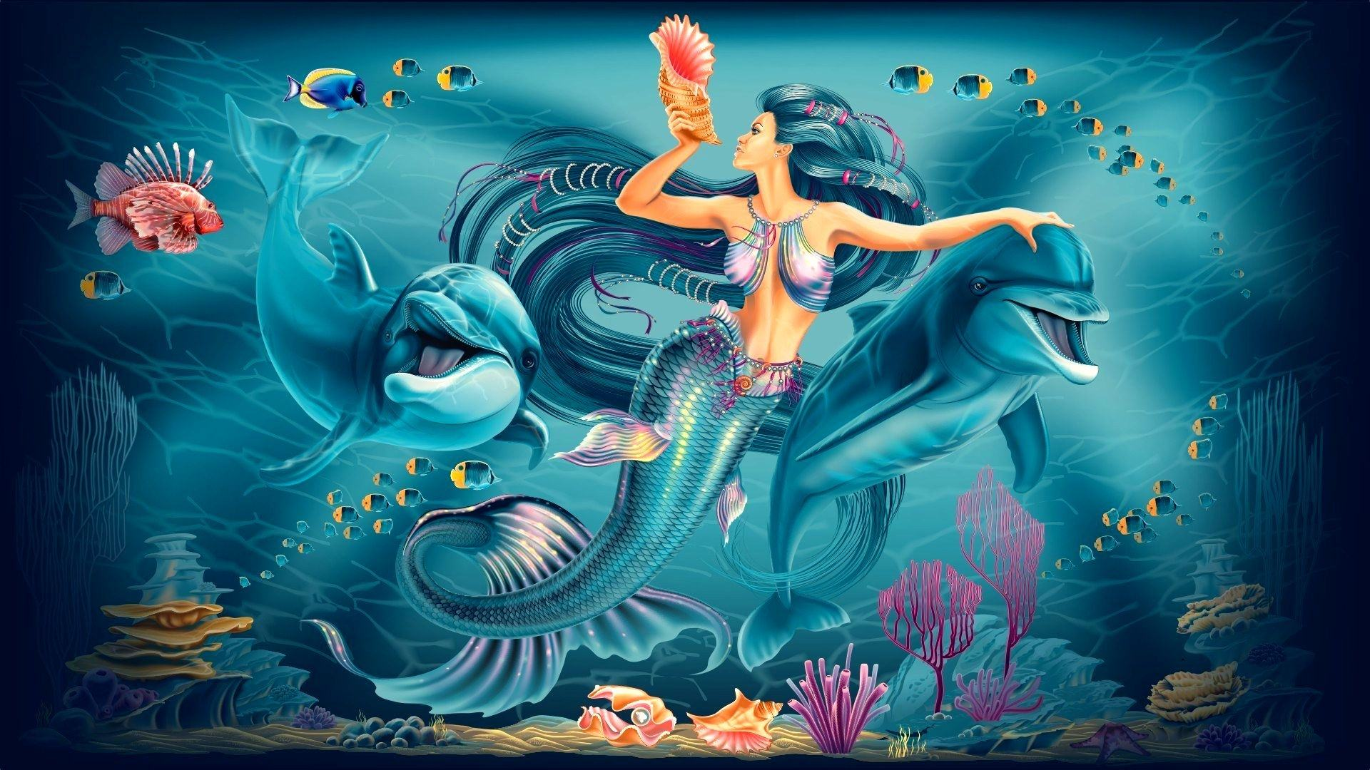 Animated Mermaid and Dolphins