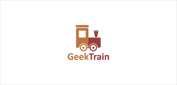 cool train geek logo illustration