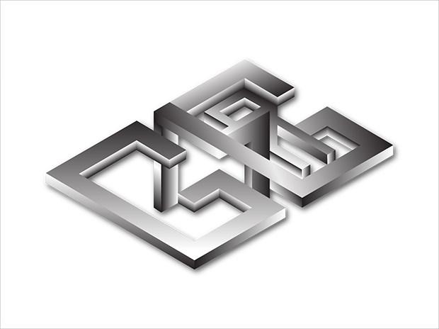 Silver Metaalic Isometric Logo Design