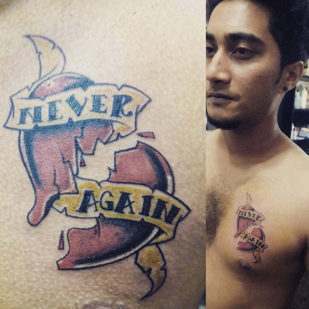 Never Again Heart Tattoo