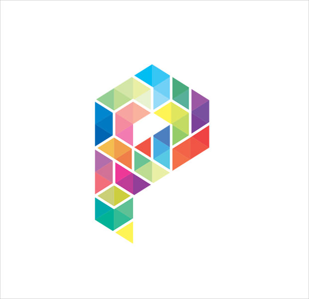 colorful isometric logo design