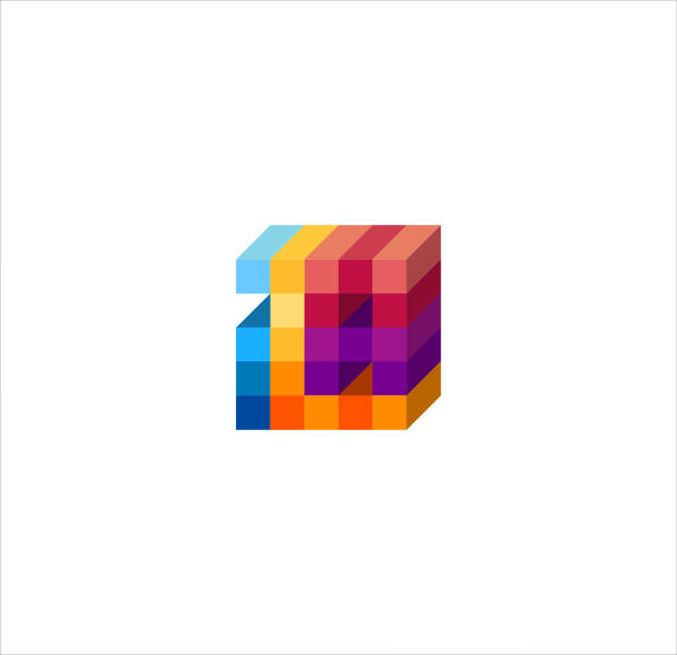 Cool Colorful Blocks Cubical Isometric Logo