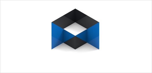Stunning Blue and Black Isometric logo Design