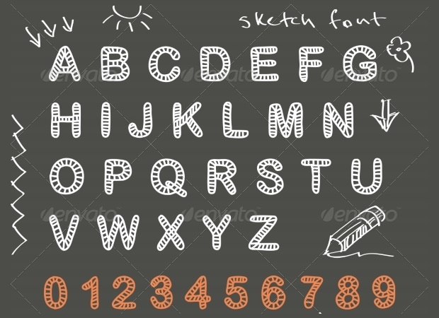cool sketch doodle alphapbets and numbers