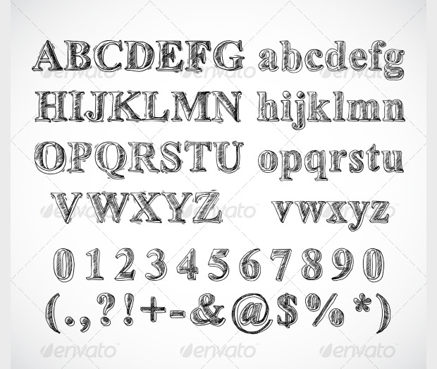 Stylish Sketch Alphabets Numbers and Characters