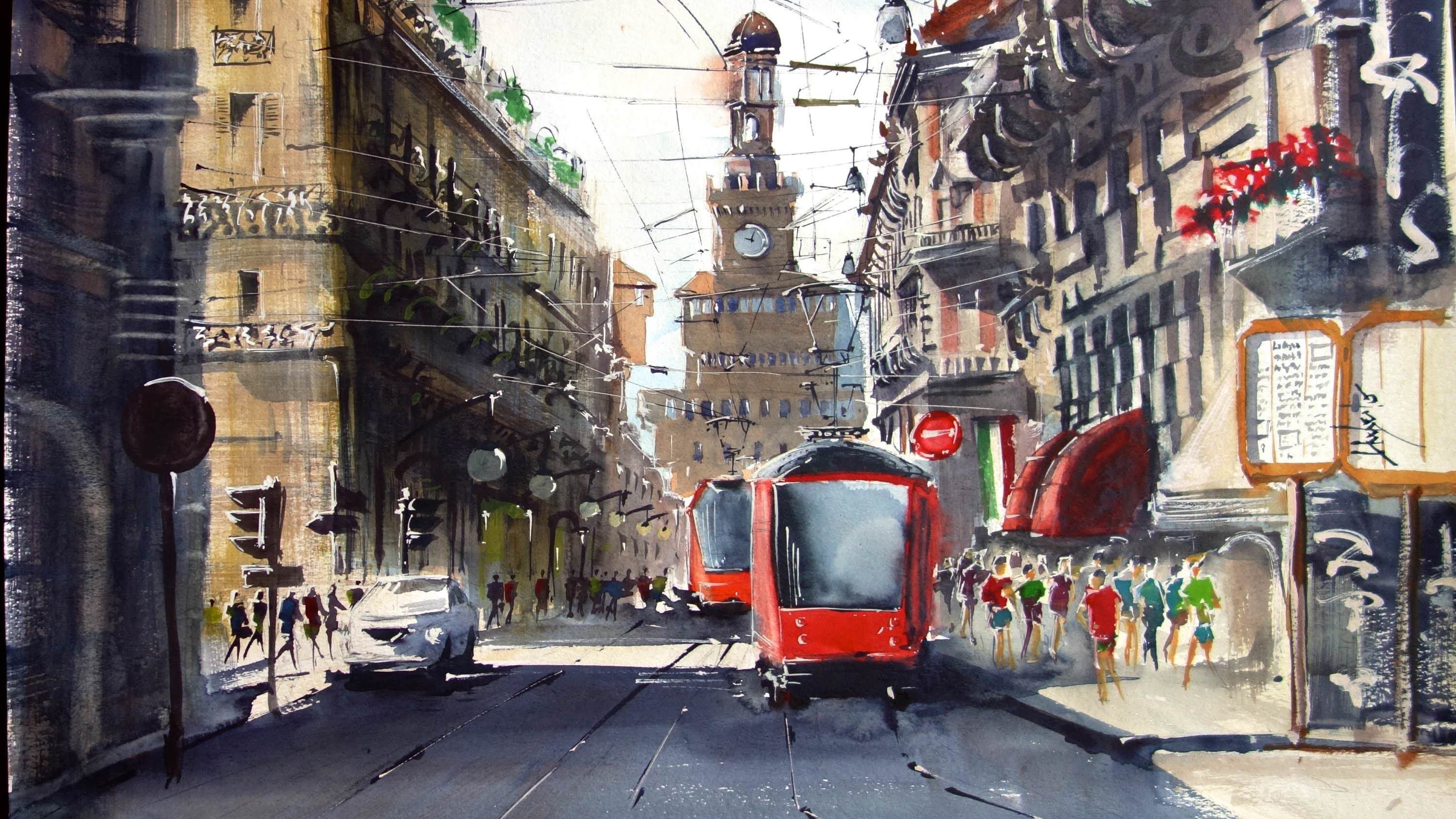 Italy Cityscape in Milano Drawing