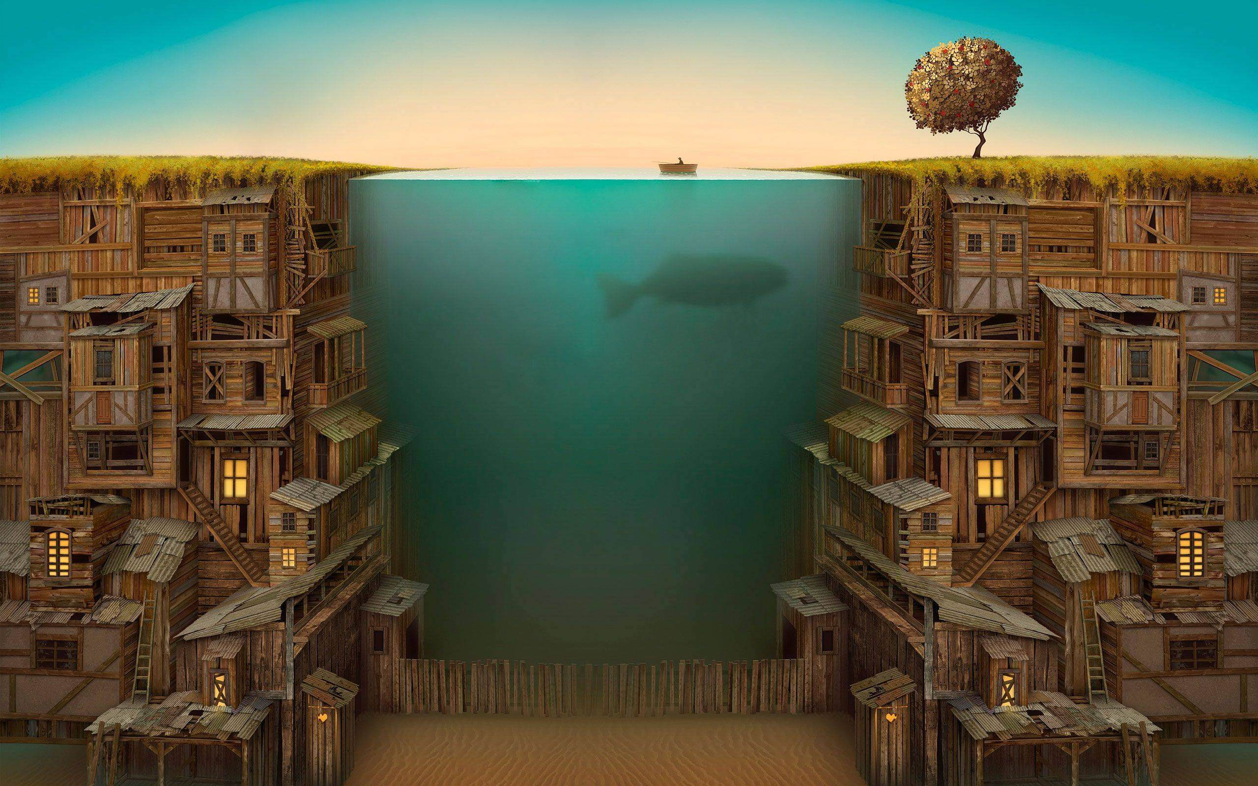 Ocean Between a Wooden City