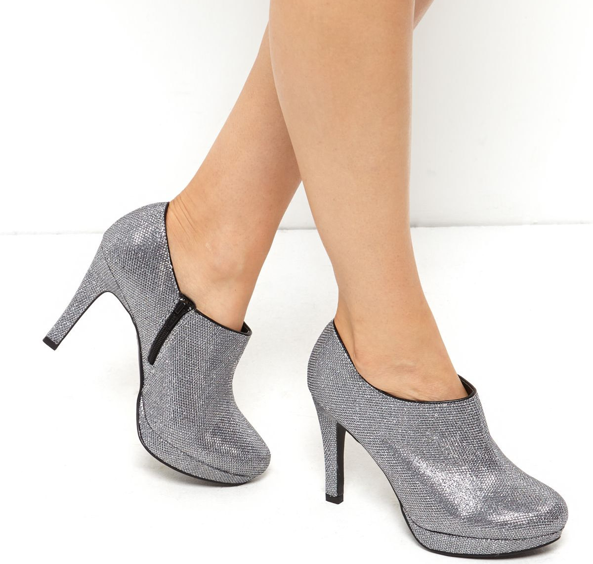 Wide Fit Dark Silver Glitter Shoes