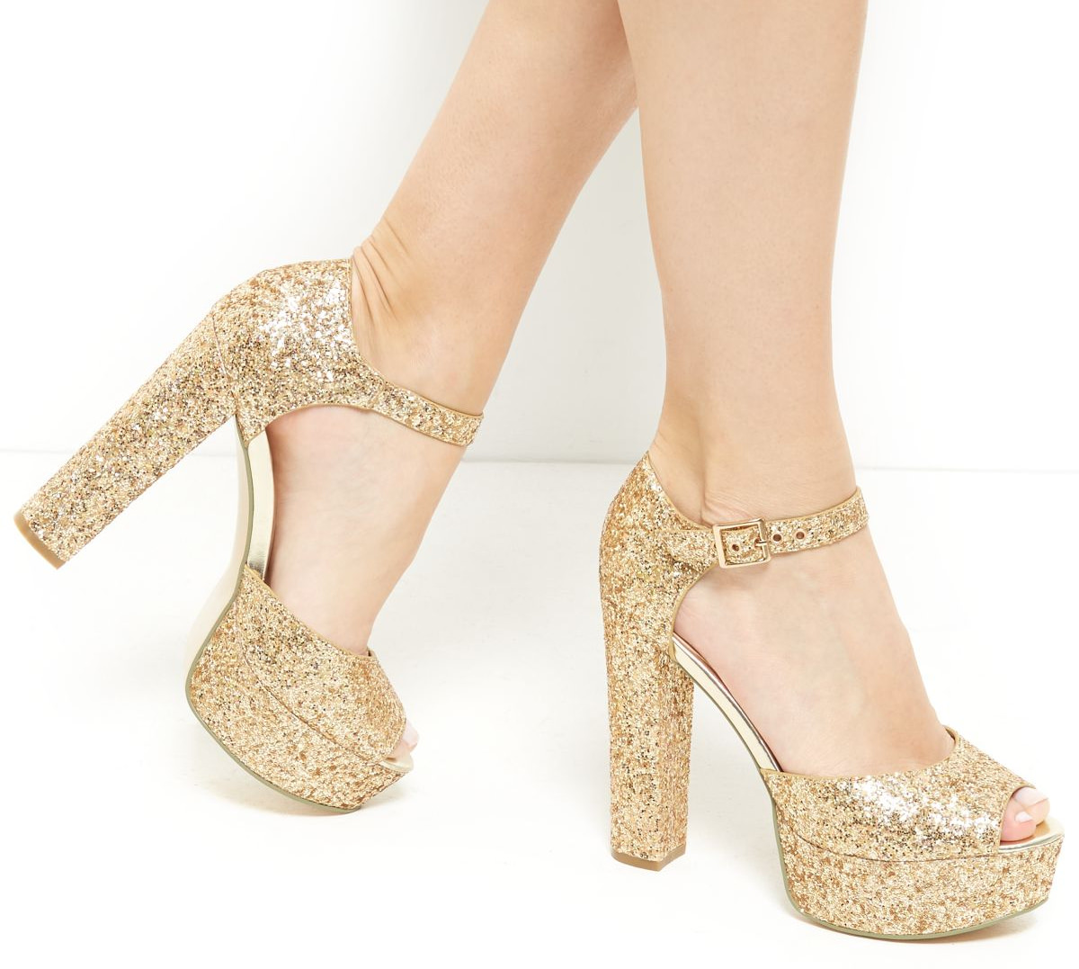 gold glitter ankle strap platform heels