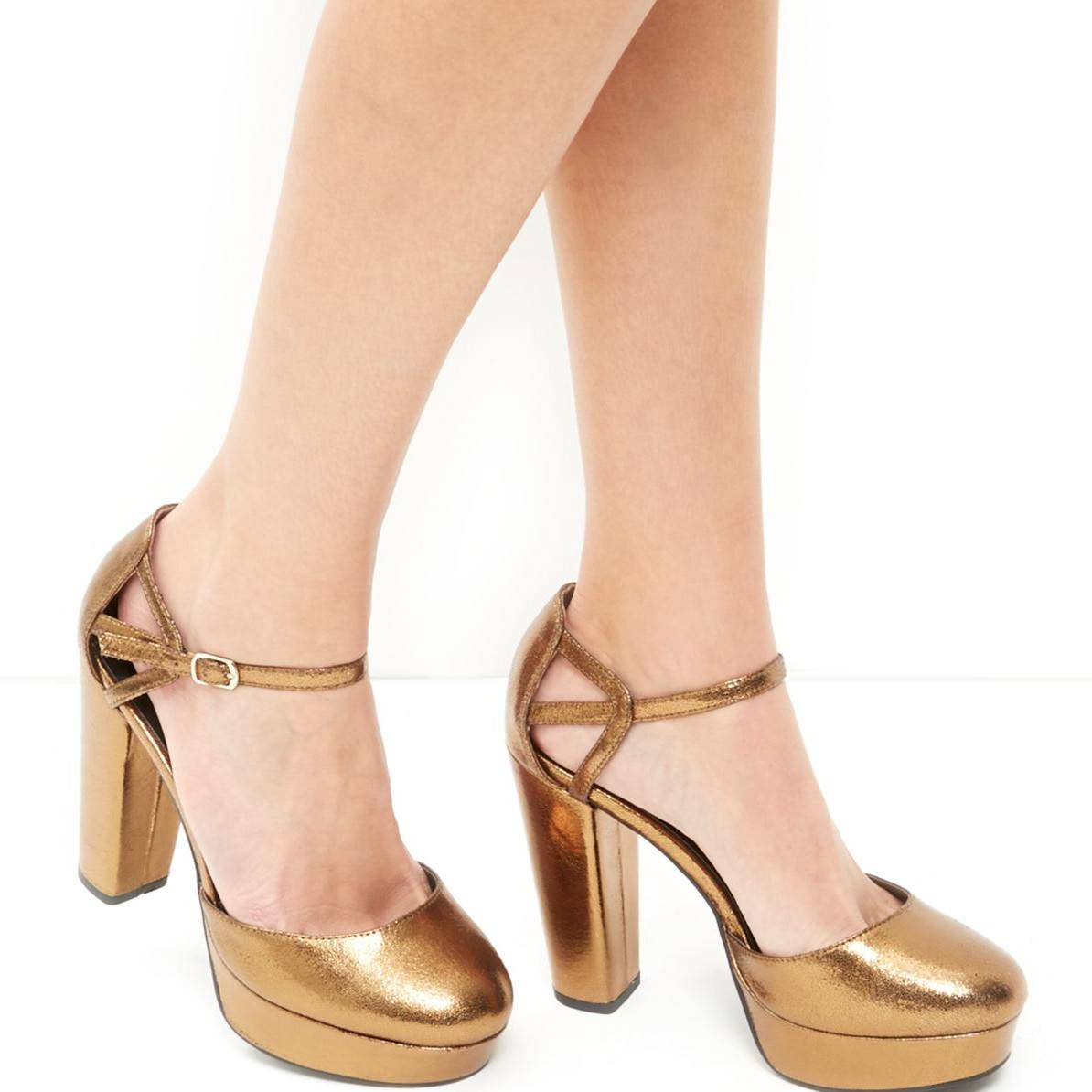 bronze caged ankle strap platform heels