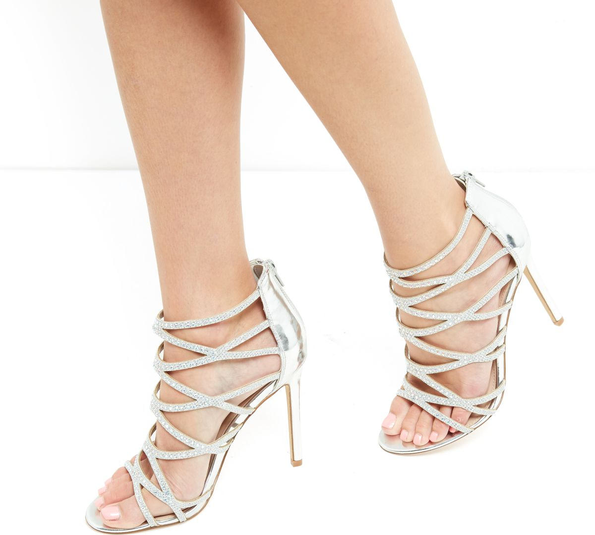 Silver Diamante Cross Strap High Heels