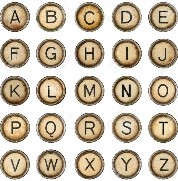 grunge typewriter font keys