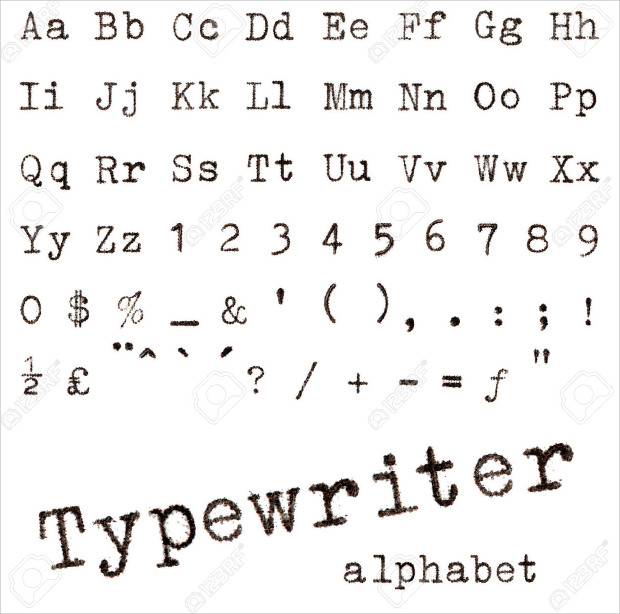 Cool Type Writer Font Alphabets